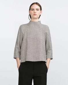 Buy Zara Women's Black Tweed Top, starting at Similar products also available. Tweed, Street Style Outfits, Mode Top, Moda Paris, Inspiration Mode, Nike Hoodie, Zara Women, Blouse Styles, Minimal Fashion