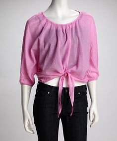 Take a look at this Barbie Sheer Front-Tie Top by COIN 1804  on #zulily today!