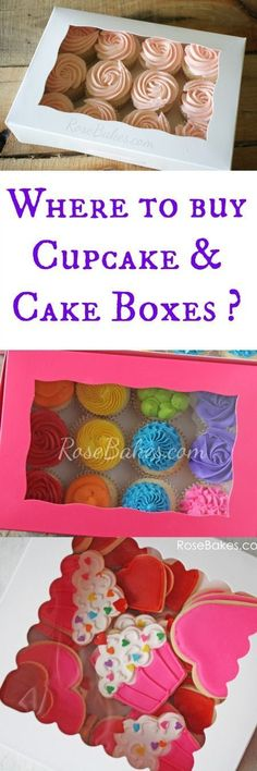 Where to buy cake/cupcake boxes and inserts? - Rose Bakes Where to Buy Cake & Cupcake BoxesWhere to Buy Cake & Cupcake Boxes Cake Decorating Supplies, Cake Decorating Tutorials, Baking Supplies, Cookie Decorating, Cupcake Supplies, Decorating Ideas, Cupcake Shops, Cupcake Boxes, Cupcake Cookies