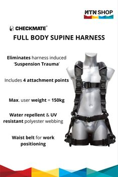 Checkmate Full Body Supine Harness - Waist Belt for Working Positioning Lifting Safety, Trauma, Full Body, Two By Two, Positivity, Fall, Rings, Shop