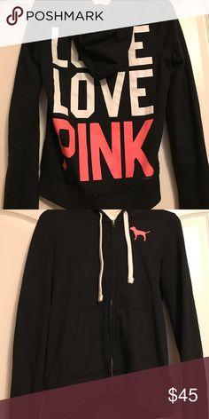Victoria's Secret PINK hoodie sweatshirt Victoria's Secret PINK zip-up hoodie/hooded sweatshirt - zips all the way up the front, front pockets, draw string, and hood PINK Victoria's Secret Tops Sweatshirts & Hoodies