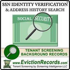 The SSN Trace Social Security Number Verification and Address History Trace is used as an add-on search for a criminal background check not a People Search. Tenant Screening, Criminal Background Check, T Race, Court Records, Property Management, Being A Landlord, Social Security, Identity, Numbers