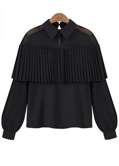 Black Long Sleeve Cape Layered Chiffon Blouse Sale On www.lulugal.com, $23.65, Free Shipping!