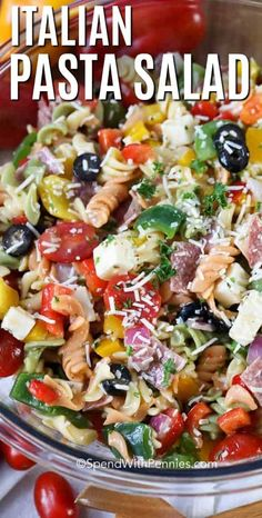Italian Pasta Salad is an easy to make summertime staple! Tender pasta, bell peppers, tomatoes, olives, cheese and salami all tossed in an Italian dressing! Italian Pasta Salad - Spend With Pennies Pamela Easy Pasta Salad, Pasta Salad Italian, Pasta Salad Recipes, Vegetarian Italian, Vegetarian Lunch, Side Dishes For Bbq, Cooking Recipes, Healthy Recipes, Summer Salads
