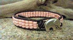 Good Luck Pink Leather Wrap Bracelet, Elephant Button, Friendship Bracelet, Southwestern Boho Gypsy Chic