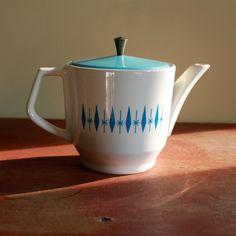 Mid Century Retro Ceramic Tea Pot. $35.00, via Etsy.