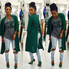 Rasheeda-I love the entire outfit! Especially the green jacket.I need that in my life! Style Outfits, Mode Outfits, Fall Outfits, Casual Outfits, Fashion Outfits, Dress Fashion, Fashion Clothes, Fashion Ideas, Fashion Mode