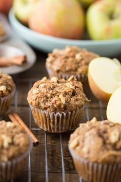 Healthy Apple Muffins using whole wheat flour, coconut oil and apple applesauce. The kids and you will love this snack all fall long! Muffin Recipes, Apple Recipes, Baby Food Recipes, Gourmet Recipes, Breakfast Recipes, Breakfast Healthy, Breakfast Muffins, Health Breakfast, Honeycrisp Apples