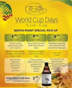Soaked in the football spirit our culinary team is matching the World Cup action with some of the best pick- up foods. Do not miss out to taste our Home-made guacamole with corn nachos (Mexico), Bruschetta selection (Italy), Fish and Chips (England) and The World Cup Beef Burger.