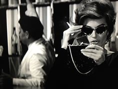 """cinemarhplus: """" Anouk Aimée and Marcello Mastroianni in Fellini's 'La Dolce Vita' """" national sunglasses day doesn't technically end till midnight, so why don't you wear yours till sunrise? Anouk Aimée, French Beauty, French Films, Old Soul, Vintage Glamour, Stylish Girl, Picture Show, Cat Eye Sunglasses, Style Icons"""