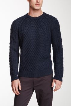 Cable Knit Wool Blend Sweater by VINCE. on @nordstrom_rack