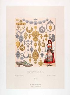 1888 color chromolithograph showing the jewelry historically worn by women in Portugal.  All of these jewelry pieces were exhibited in the 1878 Paris World's Fair.
