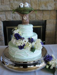 Birds have been big recently. This cake contains a custom made topper with a bride and groom's initials on the tree trunk. Baker - Confection Perfection, Meridian, ID