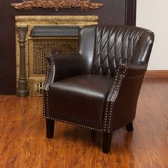 Hayden Quilted Brown Leather Club Chair