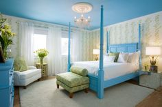 Luxury small master bedroom bedroom small master bedroom design ideas with blue painted bedroom ceiling also blue Small Master Bedroom, Master Bedroom Design, Bedroom Designs, Awesome Bedrooms, Beautiful Bedrooms, Blue Bedroom Colors, Pink Room, Blue Ceilings, Colored Ceiling