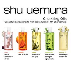 """shu-uemura cleansing oils. More about Shu Uemura: """"Uemura developed and launched…"""