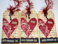 Valentine Tags  Set of 3  Vintage Style  Bookmarks by DebbieSaenz
