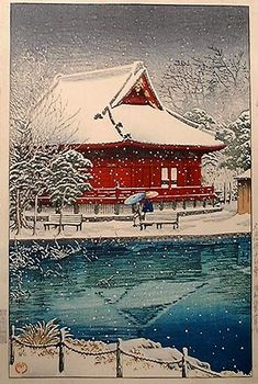 Snow at Shinobazu Benten Shrine, 1931 ~ by Kawase Hasui (1883-1957)