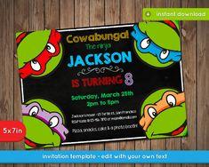 Teenage Mutant Ninja tortugas invitación - fiesta de cumpleaños para imprimir de…