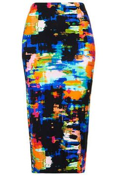 abstract midi pencil skirt
