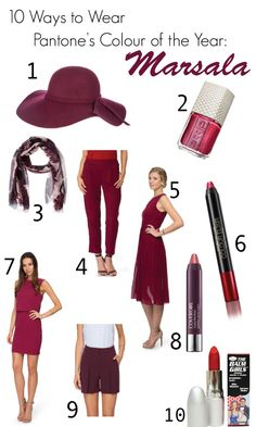 SHOP MARSALA TONES HERE: 1. Atmos & Here Floppy Hat $29.95 | 2. ESSIE Snakeskin Nail Polish in Ssssexy $8.47 | 3. Dorothy Perkins Wine Mulberry Scarf $19.95 | 4. Forcast Angela Pleat Pants $35.97 {on sale} | 5. Oasis Embellished Chiffon Midi Dress $159.95 | 6. Maxfactor Colour Elixir Giant Pen Stick for Lips $9.95 in Hot Chocolate or Intense Plum | 7. Warehouse Cape Back Dress $124.95 | 8. Covergirl LipPerfection Jumbo Gloss Balm in Mauve Twist $12.95 | 9. ...