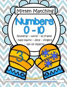 Match pairs of mittens picturing various different ways that numbers can be represented (0-10): numerals; sets of snowflakes; 10-frames; finger counting; tally marks; dice; and number names. 48 pages.