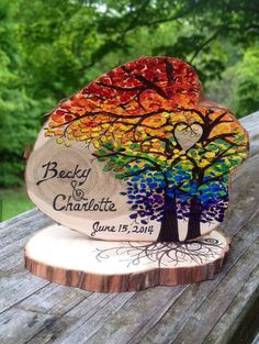 Rainbow Wedding cake topper Woodland Wedding by ImageVermont, $27.00