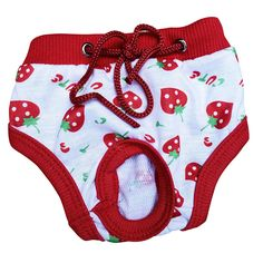 Female Pet Sanitary Underwear Lovely Puppy Dog Pant Short Panty Strawberry Striped Diaper Size S  M L XL #Affiliate
