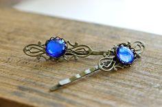 Victorian inspired bobby pins - royal blue