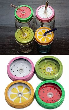 Fruit Straw Hole Tumbler Lids and Bands for Regular Mouth Mason Jars