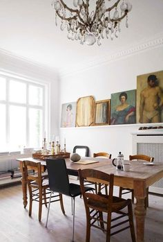 dyingofcute:  picture ledge and old table with mixed chairs