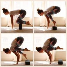 Tuesday yoga tidbits: crow pose. Prep yourself to take flight. Start by propping yourself on blocks, like the first photo. Spread your fingers and press your palms down. Take cat/cows here, drawing your belly in. If this pose is scary, take time to feel your legs lifted off the ground, a block is great for this! When you're ready, whether it be minutes, weeks, months or years; place a block underneath your toes, wrap your knees around the outside of your triceps as high up towards your…