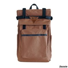 Brown Canvas Roll Top Backpack w/ Laptop Sleeve. $225.00