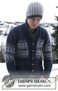 """Pletená DROPS pánská čepice z příze """"Alaska"""". ~ DROPS Design"""