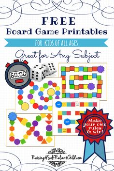 Free board games printable templates for your homeschool. Good for kids of all ages, and for any subject or topic. Spice up your learning with a game today! Best Picture For Board Games monopoly For Y Free Board Games, Math Board Games, Printable Board Games, Math Boards, Free Games For Kids, Board Games For Kids, Classroom Games, Templates Printable Free, Games For Teens