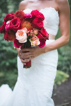 Red and Blush Protea, Rose, Dahlia Bouquet