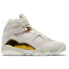 """Air Jordan 8 Retro """"Championship Trophy"""" ❤ liked on Polyvore featuring shoes"""