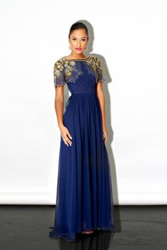 Classic Maxi Dress with Bead and Sequin Encrusted Details