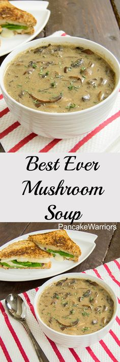 Best Ever Mushroom Soup - low fat, vegan, gluten free creamy mushroom soup. always looking for a best ever mushroom soup! Vegan Soups, Vegetarian Recipes, Cooking Recipes, Healthy Recipes, Low Fat Vegan Recipes, Healthy Soups, Vegetarian Cooking, Easy Recipes, Fat Free Recipes