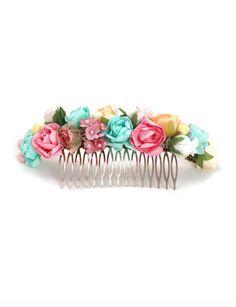 Adornos para el pelo estilo peina flores rosas Demi Novias