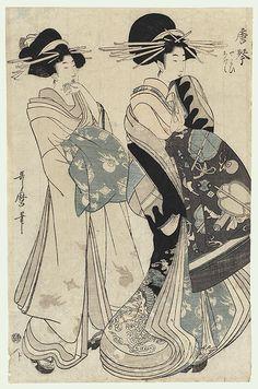 Karakoto of the Chojiya, Kamuro Yayoi and Ageha by Utamaro (1750 - 1806)