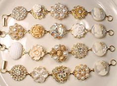 4 OOAK Gold Ivory Pearl & Rhinestone Bridesmaids Bracelet Set, Vintage Earring Bracelet Bridal Jewelry Wedding Gifts Country Rustic Modern