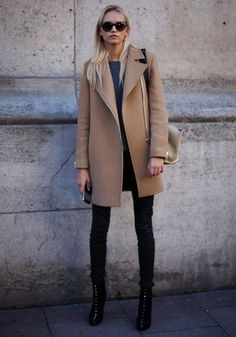 Camel coat + black jeans + black boots