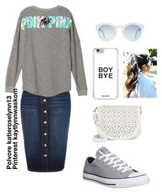 """Modest casual Victoria Secret Pink"" by katieroselynn13 on Polyvore featuring River Island, Converse and Under One Sky"
