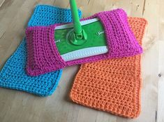 Standard /& XL Reusable Crochet Sweeper Eco friendly Mop Covers Wet Dry Mop Cover Sweeper Cover Set of 3 Choose A Size