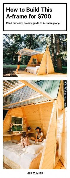 How to Build This A-Frame Cabin That Will Pay for Itself frugal a frame<br> With this breezy plan, you'll see that A-frames can be affordable and easy-to-build—not to mention incredibly dreamy weekend getaways. Tree House Plans, Tree House Designs, A Frame House, Cabins In The Woods, Outdoor Projects, Diy Projects, Garden Projects, Weekend Projects, Play Houses