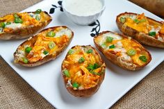 Buffalo Chicken Potato Skins--These look perfect for a smaller get-together. Select some craft beers to taste, and make some homemade bar food!