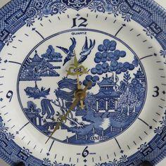 Churchill Blue Willow | Blue Willow Quartz Plate Clock Churchill Staffordshire, England Blue ...