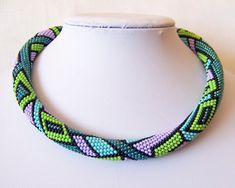 Bead crochet necklace with geometric pattern - Beaded rope necklace - Handmade jewelry - Beadwork - emerald, blue, green, lilac, black