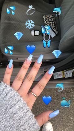 Nail - More than 50 brilliant summer nail art designs that will be so fashionable t . - - More than 50 brilliant summer nail art designs that will be so fashionable all season, summer nails pretty nails pastel nails stiletto nails. Aycrlic Nails, Swag Nails, Polish Nails, Nail Deaigns, Emoji Nails, Nails 2018, Grunge Nails, Blue Acrylic Nails, Acrylic Summer Nails Coffin